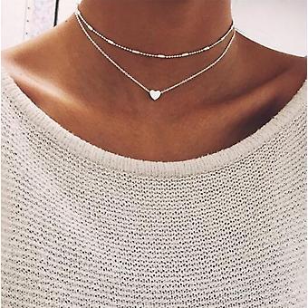 Vintage Multilayer Crystal Pendant Necklace