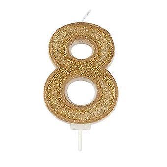 Kultainen kimalteleva numerokynttilä - numero 8 - 70mm