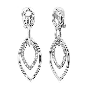 Traveller Drop Clip Earrings with Crystals from Swarovski Rhodium plated - 157195