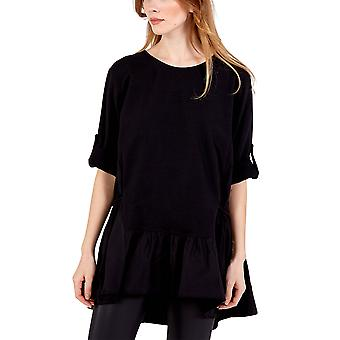 Chloe Frill Hem Button Sleeve Top   Black   One Size