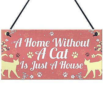 Lovely Cat Wooden Animal Printed Hanging Sign