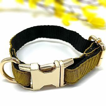 Genuine Leather Mustard Wave Dog Collar & Bow Tie