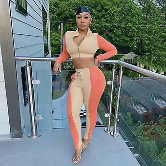 Women Zipper Long Sleeve Crop Top Color Blocking Drawstring Sweatpants
