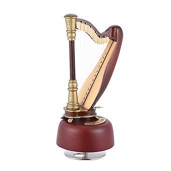 Klassieke wind up harp muziekdoos met roterende muzikale basis instrument miniatuur replica artware gift