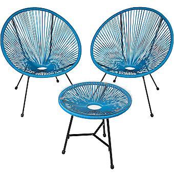 tectake 2 Havestole Gabriella med bord - blå