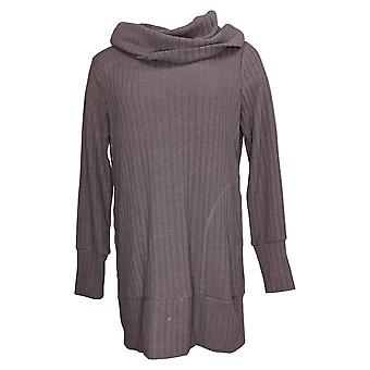 Iedereen Women's Sweater Pluche Brede Rib Cowl Hals Thumbholes Paars A388569