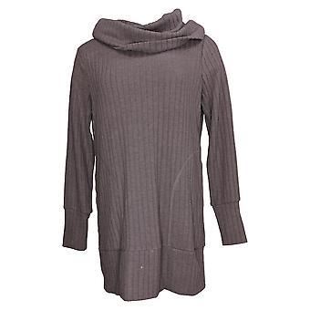 Anybody Women's Sweater Plush Wide Rib Cowl Neck Thumbholes Purple A388569