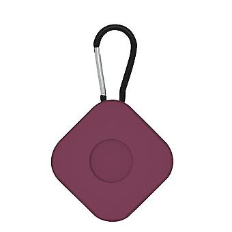 2Pcs for airtags protective case anti lost keychain square  wine red