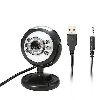 640P Webcam Live Streaming Webcam mikrofonilla 360 asteen pyörivä USB-verkkokamera PC Laptop Desktop Webcam videoneuvotteluun Kokous Gaming Desktop Office kierretään säädä kulmaa