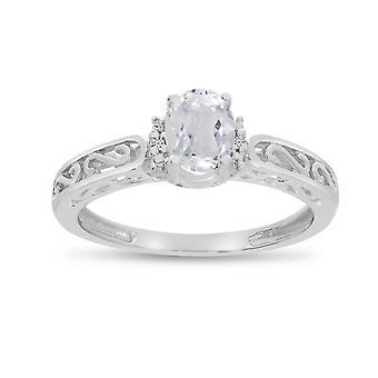 LXR 14k White Gold Oval White Topaz and Diamond Ring 0.48 ct