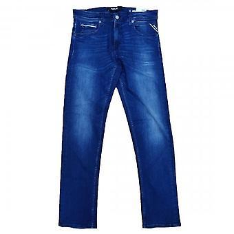 Replay Grover Rett Passform Blå Vasket Denim Jeans MA972O 030 783 009