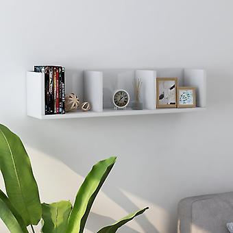 vidaXL CD Wandplank Hoogglans Wit 75 x 18 x 18 cm Spaanplaat