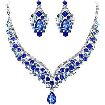 FengChun sterreichischer Kristall V-Form Halskette Ohrring Schmuck Set