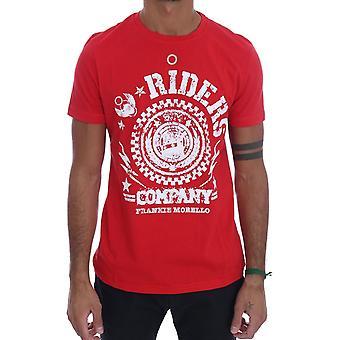 Frankie Morello Red Cotton Riders Crewneck T-paita