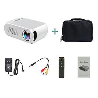Veidadz YG320 Mini LED-projektori säilytyspussilla - Screen Beamer Home Media Player Valkoinen