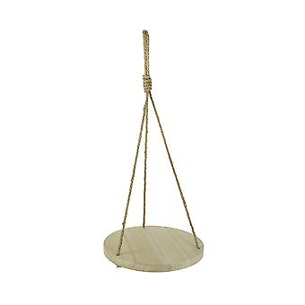 Circular Wood Hanging Decorative Display Shelf Rope Farmhouse Accent Decor