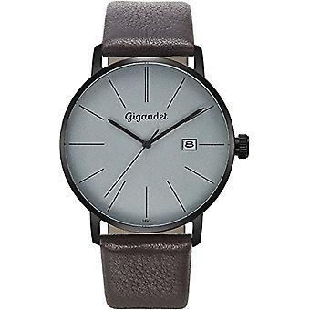 Gigandet Men's Watch Quartz Analog Minimalism Bracelet Grey Leather Brown G42-011