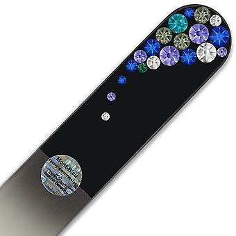 Große Fußfeile mit Swarovski-Kristallen BB-B - Blau