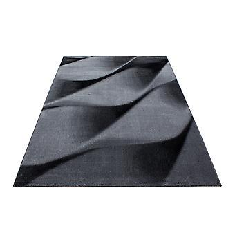 ShortFlor Rug Waves Patroon Grijs Zwart Gesmolten Woonkamer