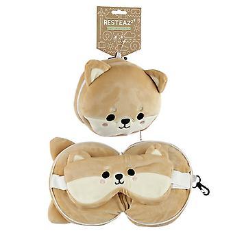 Relaxeazzz Plüsch Cutiemals Shiba Inu Hund Runde Reise Kissen & Augenmaske