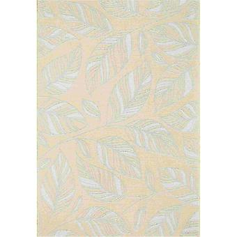 Newquay Leaf Flatweave Outdoor Rugs 96014 2007 Gold
