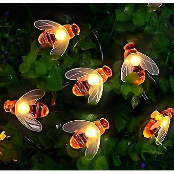 50 Led Waterproof Solar Garden Lights, Honeybee Fairy String Lighting , For Flower Fence, Lawn,