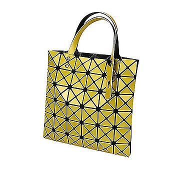 Holografisk geometrisk tyghandväskaväska för kvinnor (gul)