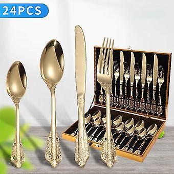 Stainless Steel Palace Style Pattern Cutlery Set Dinner Western Steak Knife Fork Metal Tableware