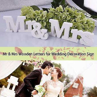 White Mr & Mrs Wooden Letters For Wedding Decoration Sign Top Table Present Decor