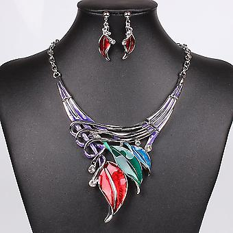 Necklace Earring Crystal Jewelry Set(Multicolor)