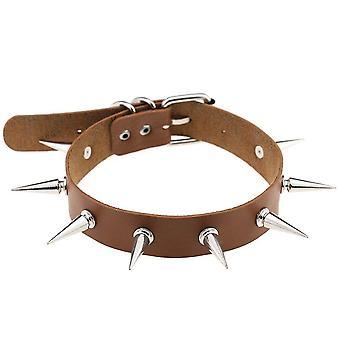 Spike Choker Belt Collar Women Pu Leather Goth Necklace(Brown)