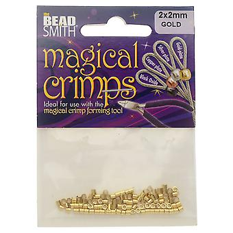 The Beadsmith Magical Crimp Beads, Tube 2x2mm, 100 Pieces, Gold Plated