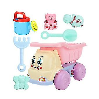 Doble rueda de arena playa juego de juegos para niños con cubo, palas, rastrillos (GROUP4)