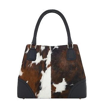 Cow Print Haare auf Leder Top Griff Handtasche