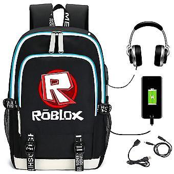 Mundo virtual Roblox mochila USB carregando mochila estudante