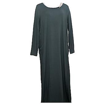 Modern Soul Plus Dress Jersey Knit Maxi w/ Pockets Blue 671349