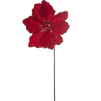 40cm Röd sammet och Glitter Magnolia Stem för floristry hantverk