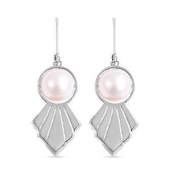 TJC weiße Perle Tropfen Ohrringe Sterling Silber 13,25 ct