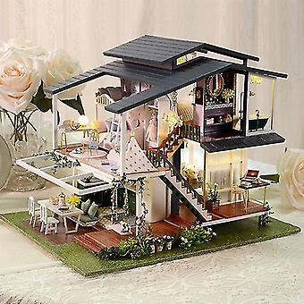 Große Puppe Haus Möbel Miniatur Bausätze Diy Puppenhaus Kit Zimmerkasten Villa Garten Holzhäuser