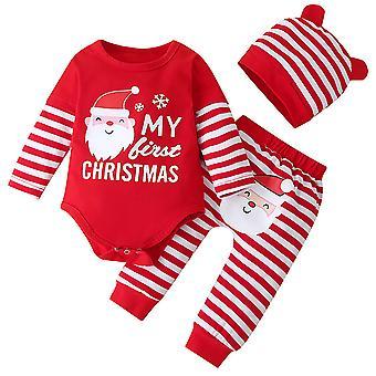 Neugeborene Mädchen Weihnachten Weihnachtsmann Outfit Set Weihnachten Gestreifte Strampler Hose Hut