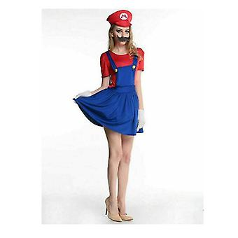 Womens Super Mario Plumber Fancy Dress Up Party Costume + Hat