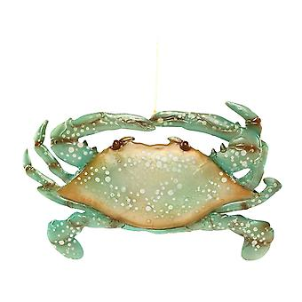 Seafoam Green Crab Capiz Shell Christmas Holiday Ornament 7 Inches