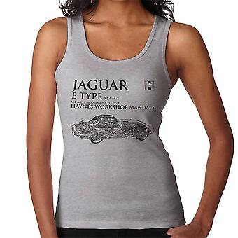 Haynes Workshop Manual 0140 Jaguar E Type 6 Cyl Black Women's Vest