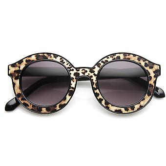 High Fashion Block Cut Pattern Print Horned Rim Round Sunglasses