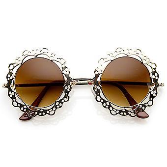Womens Fashion métal découpe dentelle cercle autour des lunettes de soleil
