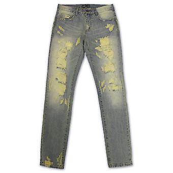 Embellish Vignale Skinny Fit Ripped Denim Jeans Light Blue