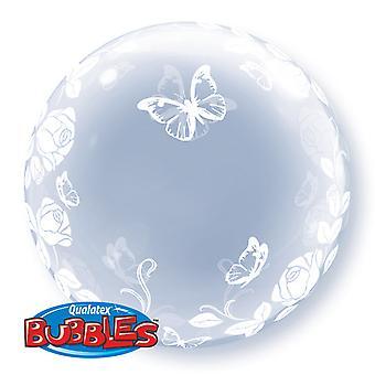 Qualatex 24 tum Deco Bubble ballong - Elegant rosor & fjärilar