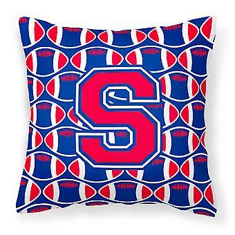 Letter S Football Harvard Crimson and Yale Blue Fabric Decorative Pillow