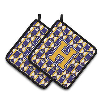 Letter H Football Purple and Gold Pair of Pot Holders