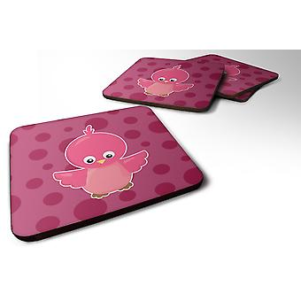 Set of 4 Bird on Pink Polkadots Foam Coasters Set of 4